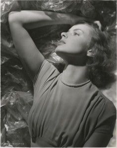 Ingrid Bergman in a 1939 publicity photo for Intermezzo. From the David O. Selznick collection at the Harry Ransom Center.