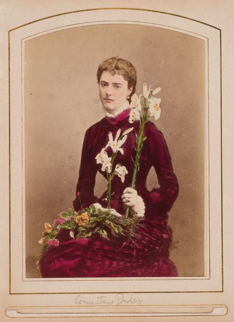 W. & D. Downey (British, active 1855–1940), [Countess Dudley], ca. 1880. Albumen print with applied color (cabinet card), 6 ½ x 4 ¼  in. Gernsheim collection, 964:0488: 0006, f TR 655.11 C525 HRC-P