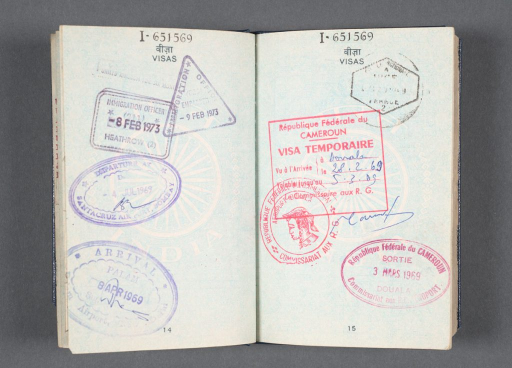 Raja Rao's 1969 passport. Photos by Pete Smith.