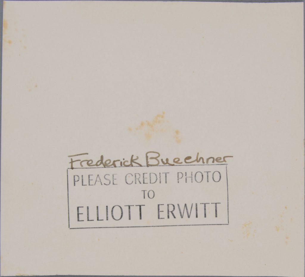 After treatment—back.  Elliott Erwitt (American, b. France 1928), Lawrenceville, New Jersey [Frederick Buechner], 1949. Gelatin silver print, 11.6 x 12.7 cm. Alfred A. Knopf, Inc. Records, Harry Ransom Center. © Elliott Erwitt / Magnum Photos