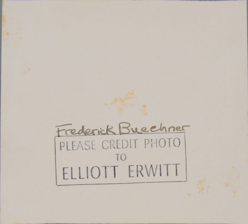 Before treatment—back. Elliott Erwitt (American, b. France 1928), Lawrenceville, New Jersey [Frederick Buechner], 1949. Gelatin silver print, 11.6 x 12.7 cm. Alfred A. Knopf, Inc. Records, Harry Ransom Center. © Elliott Erwitt / Magnum Photos