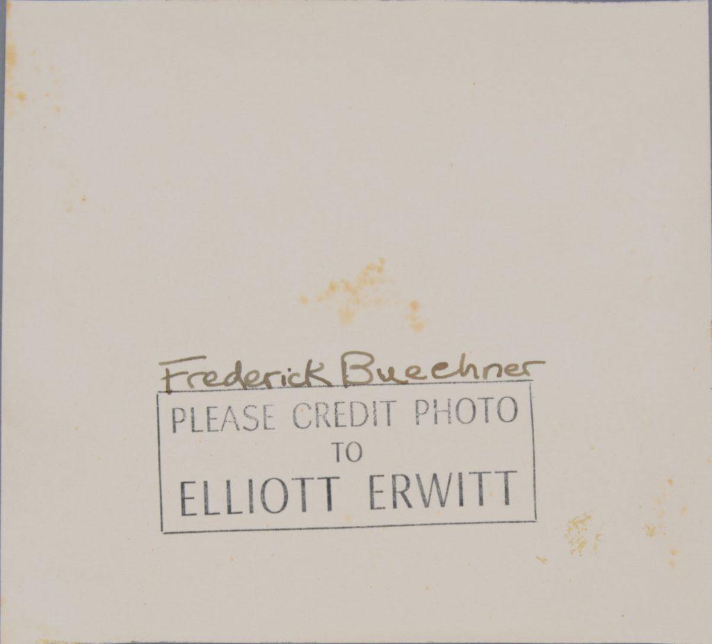Before treatment—back. Elliott Erwitt (American, b. France 1928), Lawrenceville, New Jersey [Frederick Buechner], 1949. Gelatin silver print, 11.6 x 12.7 cm. Alfred A. Knopf, Inc. Records, Harry Ransom Center. © Elliott Erwitt / Magnum Photos