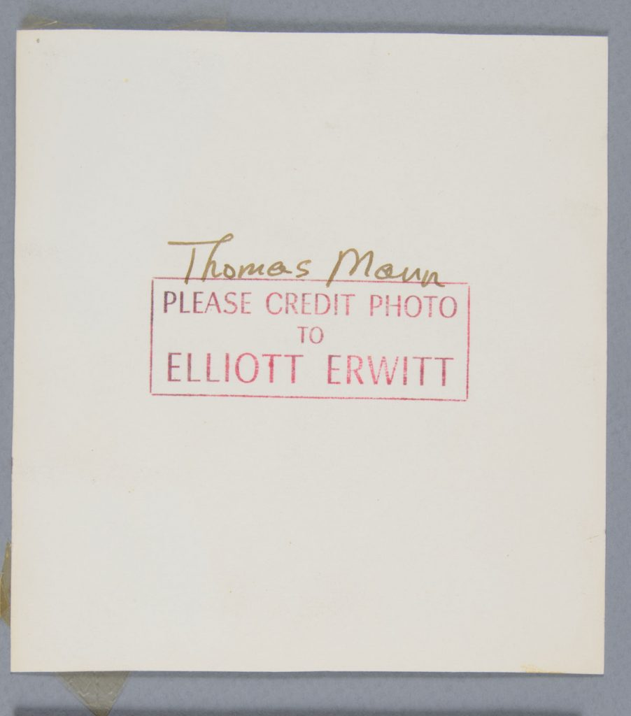 Before treatment—back. Elliott Erwitt (American, b. France 1928), New York, New York [Thomas Mann], 1950. Gelatin silver print, 13.5 x 12.5 cm. Alfred A. Knopf, Inc. Records, Harry Ransom Center. © Elliott Erwitt / Magnum Photos