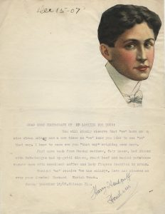 Letter from Harry Houdini to Bess Houdini, 15 December, 1907. Harry Houdini Collection.