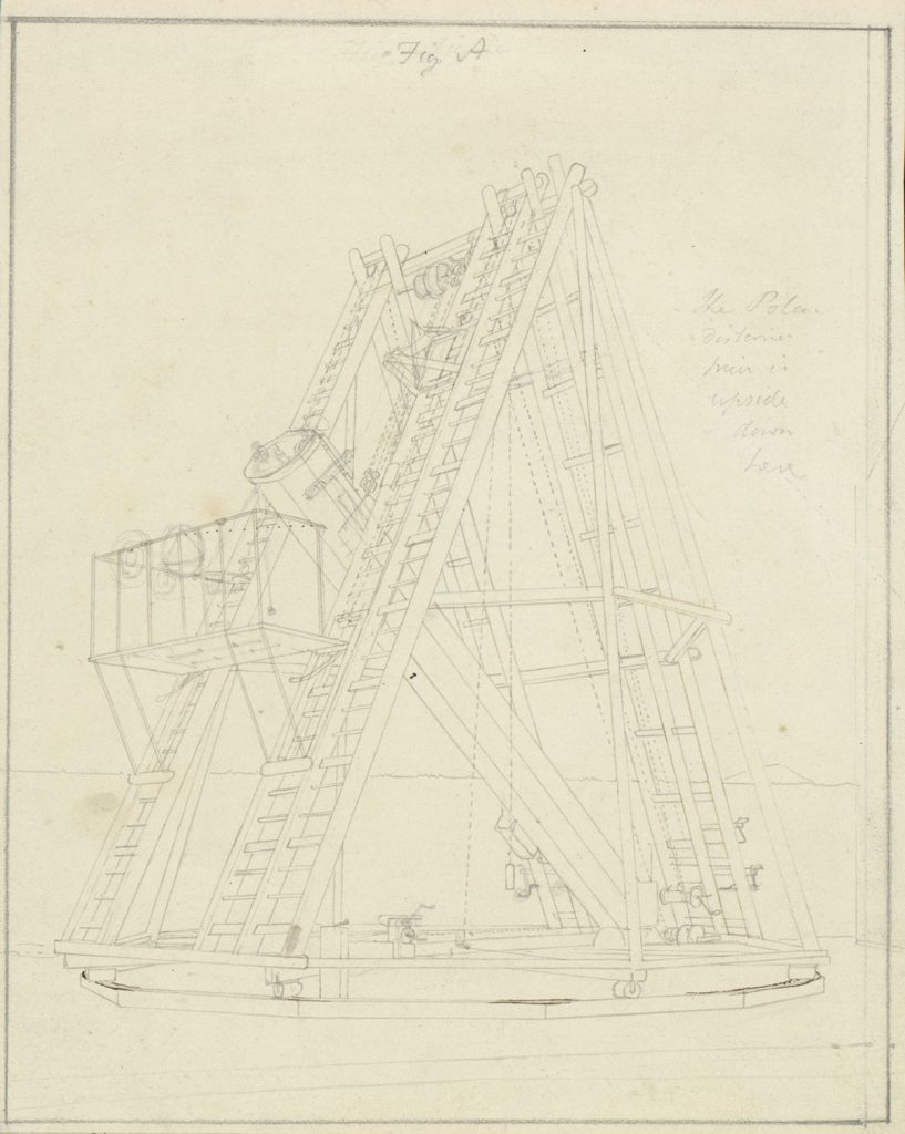 [Figures for the description of the 20-feet reflector], Sir John Frederick William Herschel, ca. 1825-1837, Herschel Family Papers.