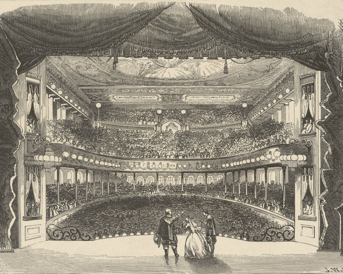 Interior of the opera house at Niblo's Garden, New York, 1853