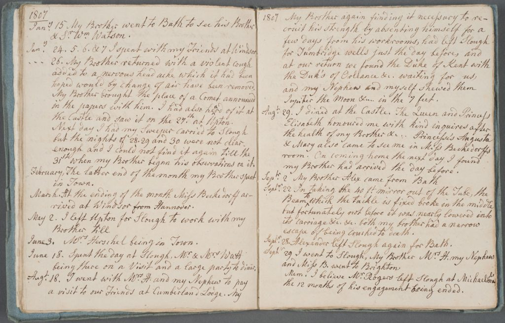 """Extracts from a day book kept during the years 1797 & 1821,"" Caroline Lucretia Herschel, Herschel Family Papers."