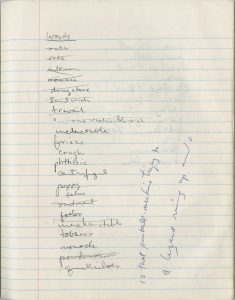 List from Tate's notebooks
