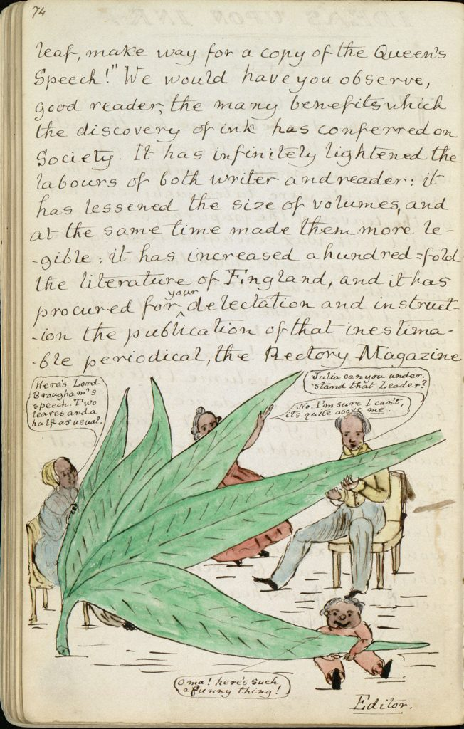 "Colored illustrations. Charles Lutwidge Dodgson, 1832-1898, ""The Rectory Magazine,"" 1850, manuscript. Charles Lutwidge Dodgson Collection, Harry Ransom Center."