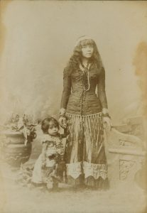 "Charles Eisenmann (American, 1855–1927), Untitled [Inscribed verso: ""Yan-a-Wah-Wah, Indian Princess and Child Rescued from one of the South Sea Islands by a Sailor""], ca. 1885. Albumen print (cabinet card), 6 ½ x 4 ¼ inches. Circus Collection, Harry Ransom Center"