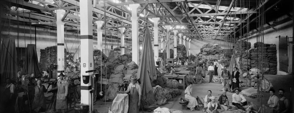 Attributed to C. A. Stead (American, 1870-1932), QMC Tent Warehousing Division, 5/9/19, 1919. Digital positive from nitrate negative, 20.1 x 50.5 cm. E. O. Goldbeck Papers and Photography Collection, 967:0068:0889