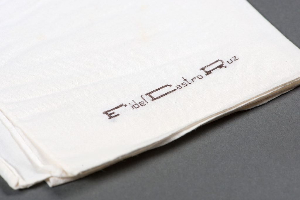 "One of Fidel Castro's monogrammed handkerchiefs found in ""La Historia Me Absolvera"" (1973). Photos by Pete Smith."