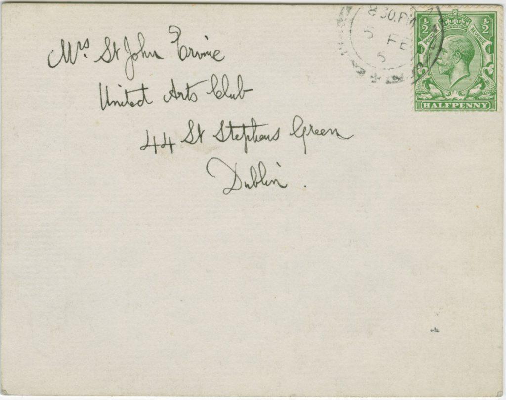 Envelope for George Bernard Shaw's letter to St. John Ervine, postmarked February 6, 1916.