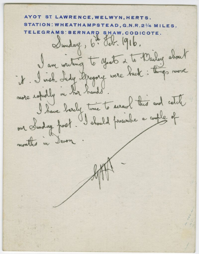 Letter from George Bernard Shaw to St. John Ervine, February 6, 1016.