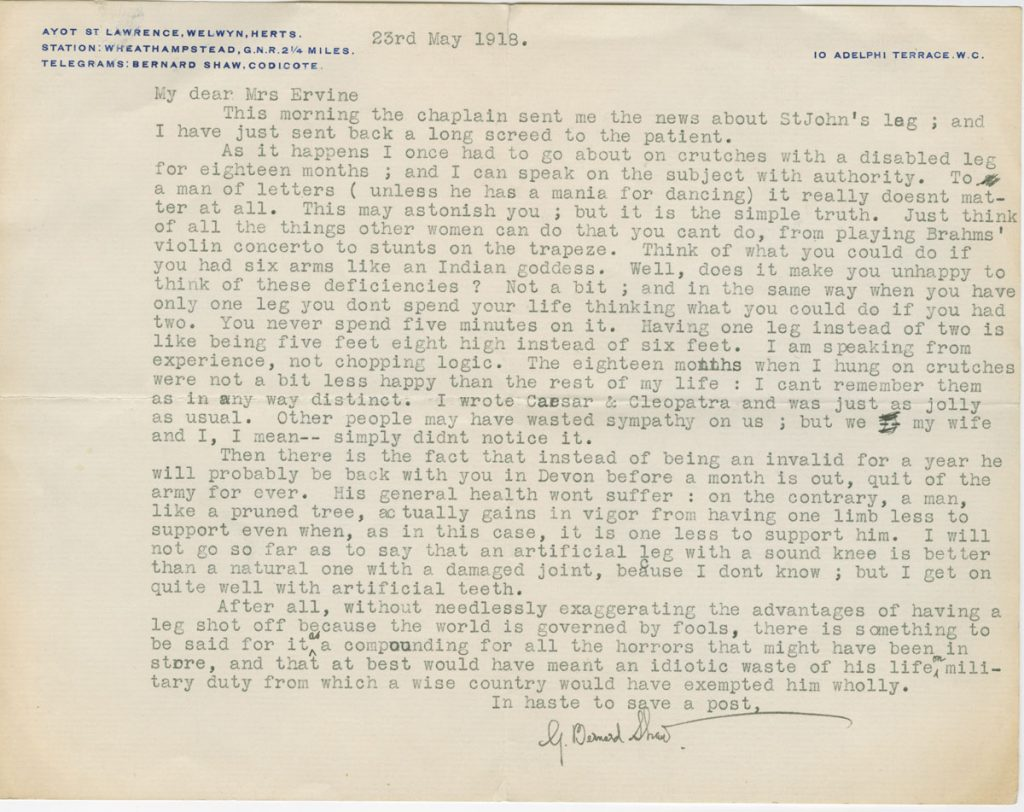 Letter from George Bernard Shaw to wife of St. John Ervine, May 23, 1918