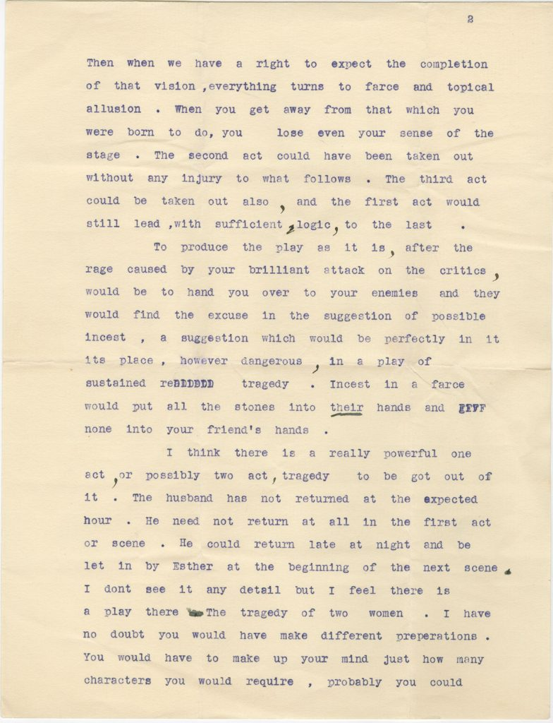 Undated letter from W. B. Yeats to St. John Ervine.