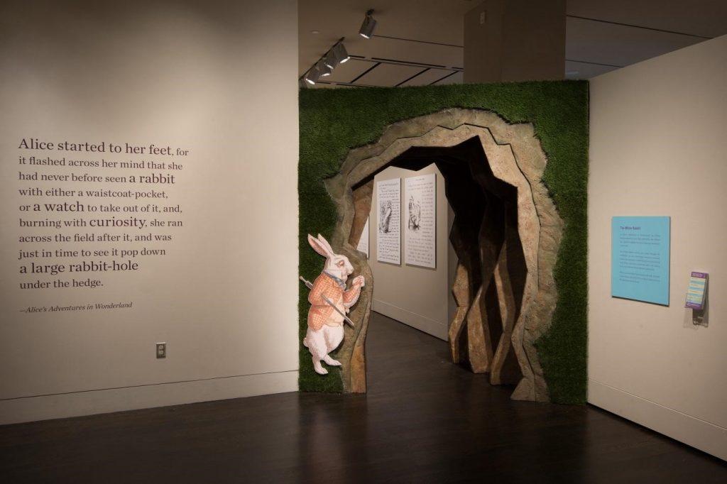 "Entrance into the ""Alice's Adventures in Wonderland"" exhibition."