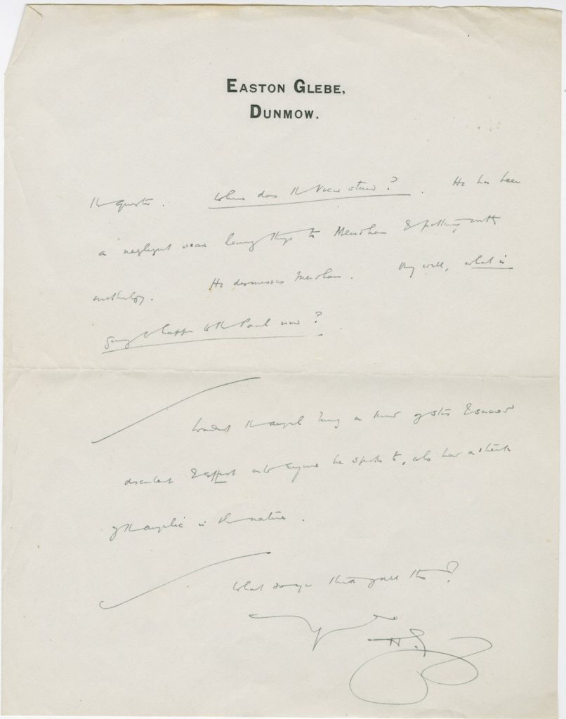 Letter from H. G. Wells to St. John Ervine, ca. 1920-1922.
