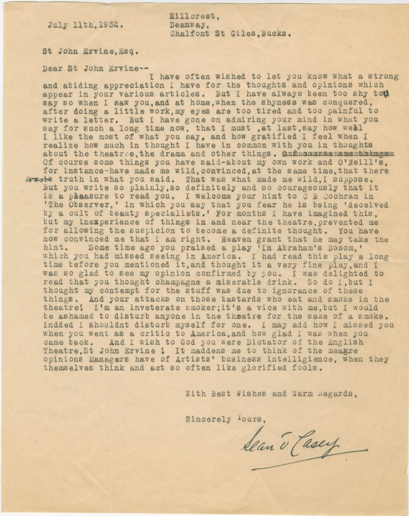 Letter from Sean O'Casey to St. John Ervine, July 11, 1932. 2