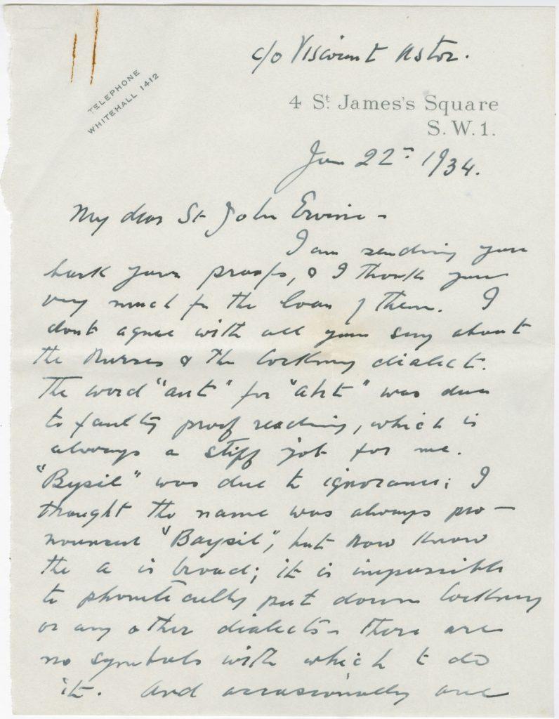 Letter from Sean O'Casey to St. John Ervine, June 22, 1934.