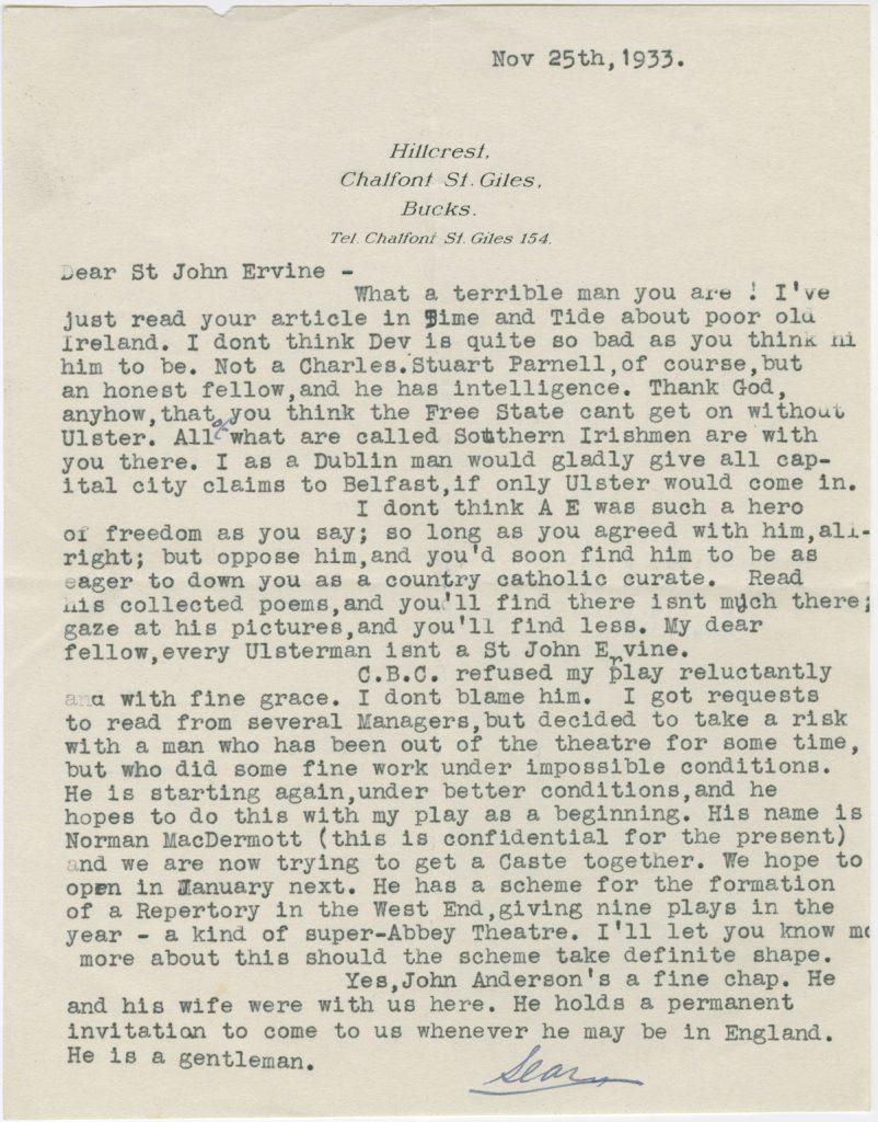 Letter from Sean O'Casey to St. John Ervine, November 25, 1933.