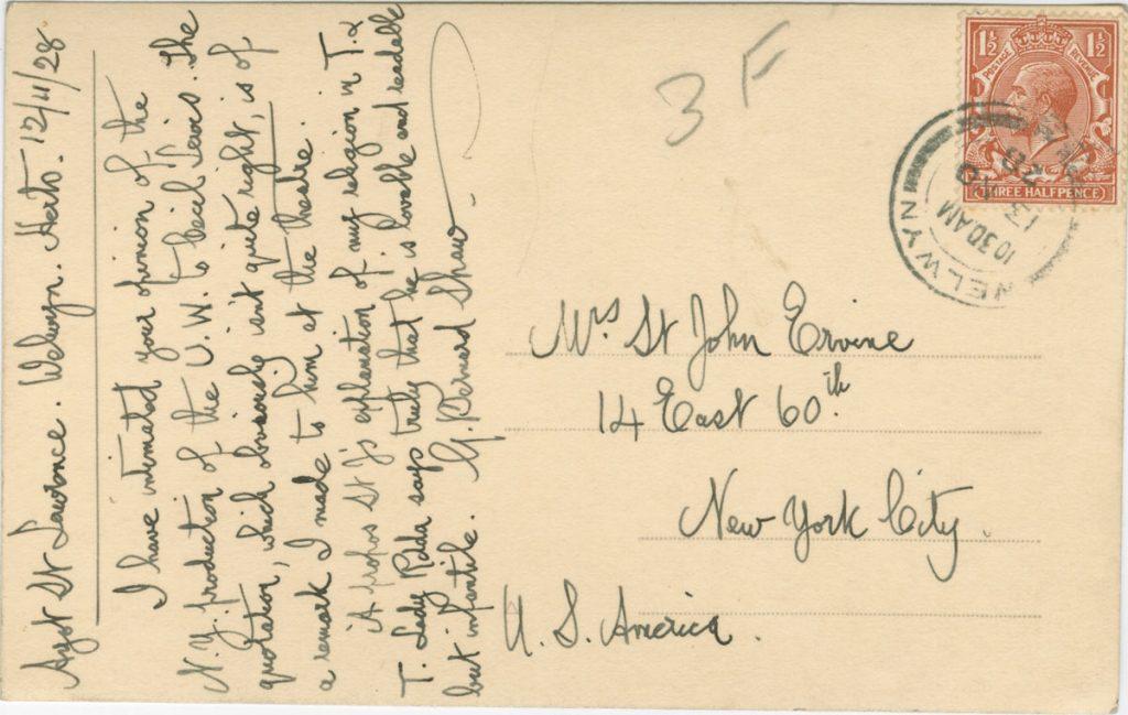 Postcard from George Bernard Shaw to St. John Ervine, December 11, 1928.