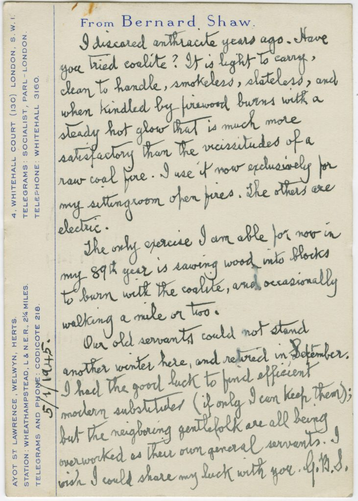 Letter from George Bernard Shaw to St. John Ervine, May 1, 1945.