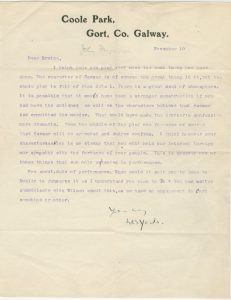 Letter from W. B. Yeats to St. John Ervine, November 10 [year unknown].