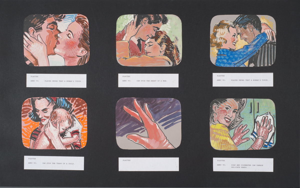 Storyboard for a fictional ad campaign for Playtex. Photo by Pete Smith.