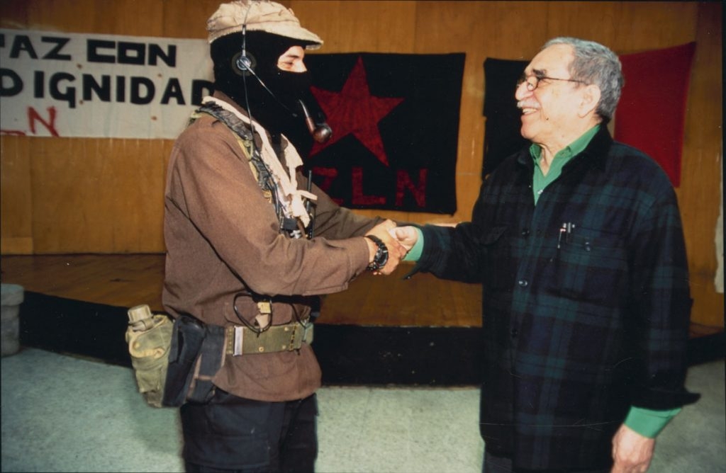 Meeting with Subcommandante Marcos, leader and spokesperson for the Zapatista Army of National Liberation, for an interview for Mexican magazine Cambio in 2001.