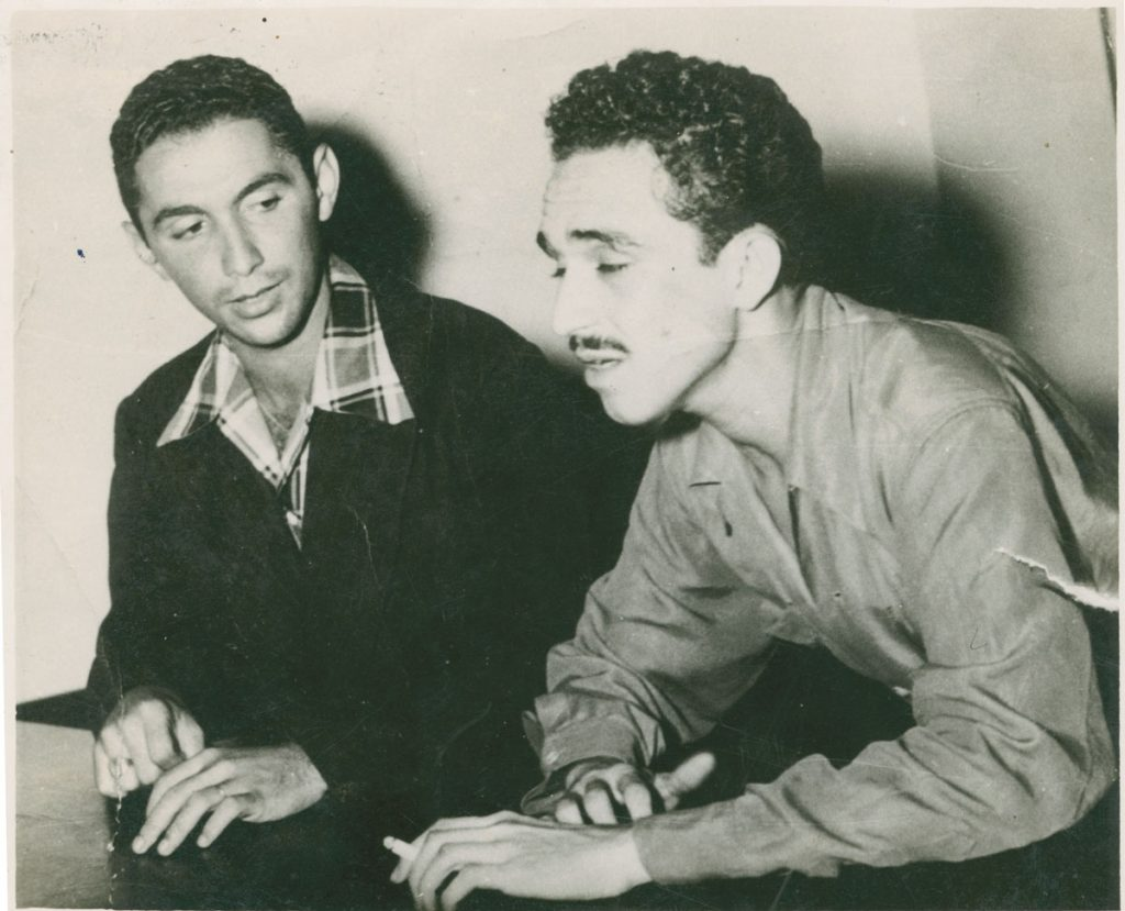 With Rafael Escalona (left), a Colombian composer; photographer and date unknown.