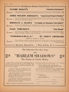 An advertisement for Claude McKay's poetry collection Harlem Shadows and a special subscription offer for Harlem Shadows and a year of The Liberator, from The Liberator (May 1922).