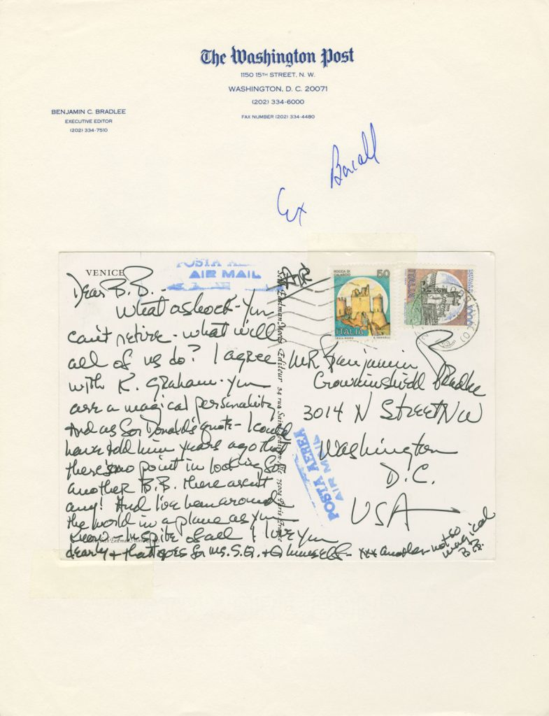 "Correspondence with notable friends and acquaintances from the media, politics, and entertainment is found throughout the Bradlee papers. In 1991 Bradlee's friend Lauren Bacall sent a postcard to congratulate him on his retirement (signed ""B.B."" for ""Betty Bacall"")."