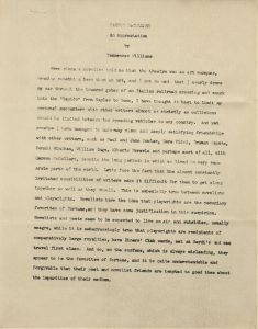 Tennessee Williams. Carson McCullers, An Appreciation, undated. From the Carson McCullers collection.
