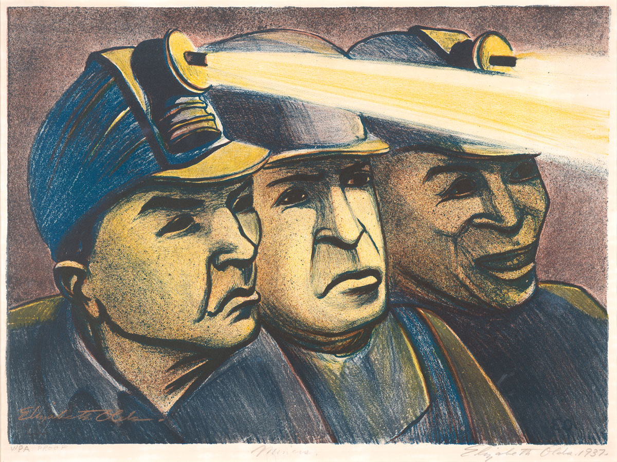 Elizabeth Olds (American, 1896–1991). Miners. WPA Proof, 1937. 34 x 46.5 cm. Silkscreen and lithography. Art collection, Gift of Dr. Emmett L. and Mary Hudspeth.