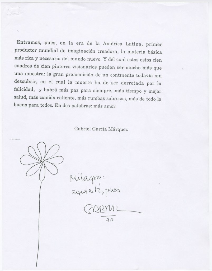 "The last page of a draft of García Márquez's foreword for ""Figuración fabulación: 75 años de pintura en América Latina"" (1990), by Roberto Guevara."