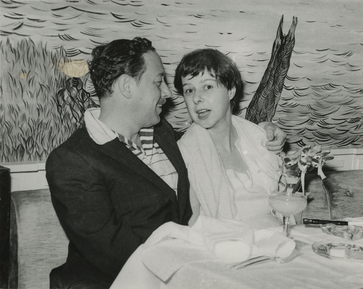 Gotham Book Mart photograph of Tennessee Williams and Carson McCullers, from the Tennessee Williams literary file.