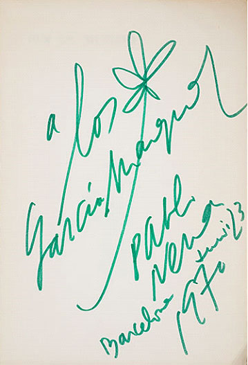 """Fin de mundo"" / Pablo Neruda (1969), inscribed by the author, 1970"