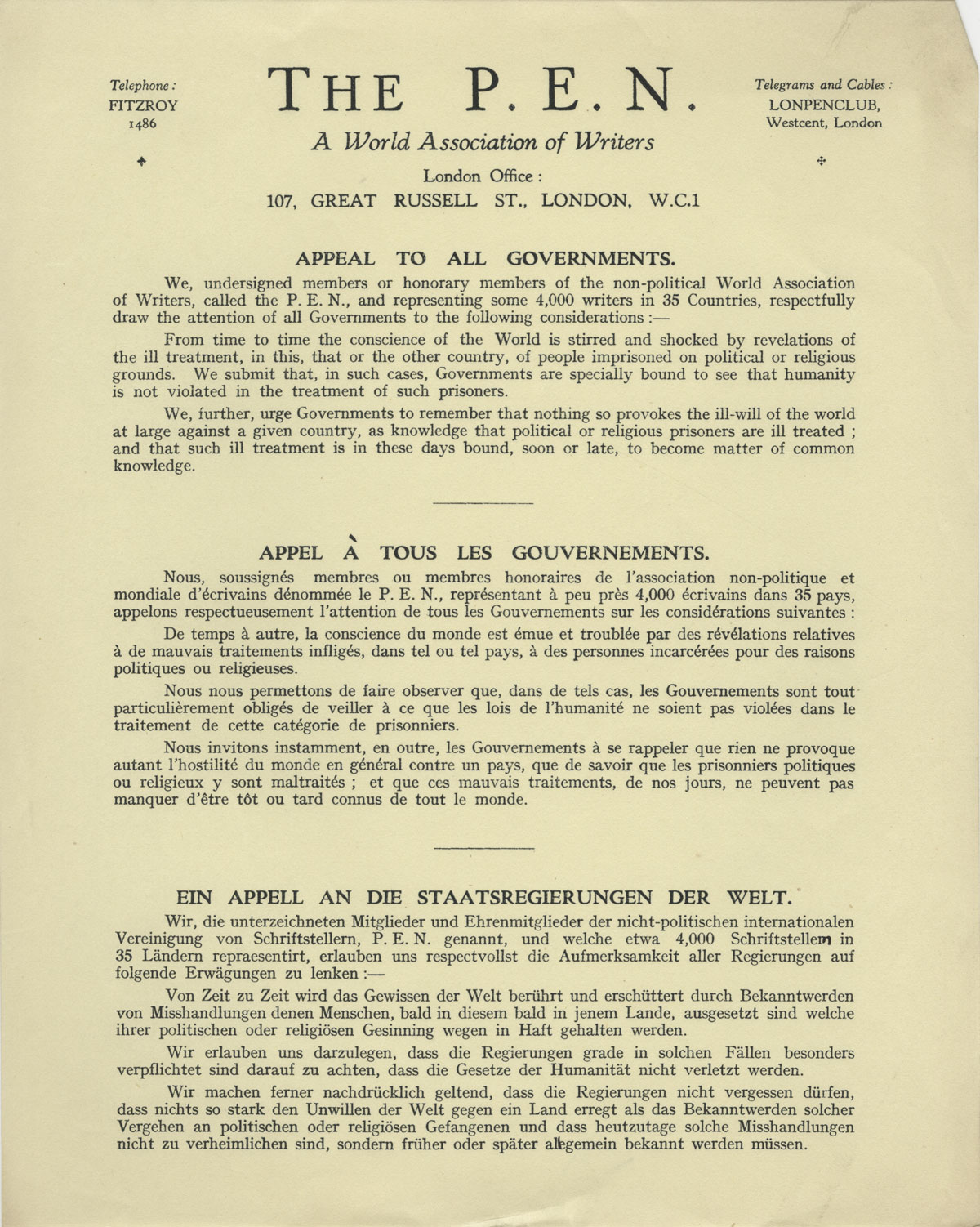 PEN. Appeal to All Governments, printed text in English, French, and German, 1931.