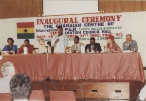 Unidentified photographer. Photograph of inaugural ceremony of the Ghanaian Centre of International PEN, 1995.