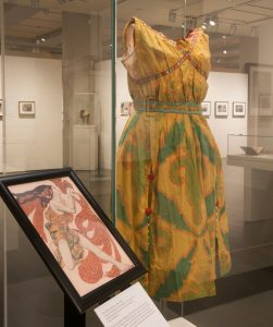 The costume on display in the Ransom Center's exhibition Stories to Tell: Selections from the Harry Ransom Center. Photo by Pete Smith.