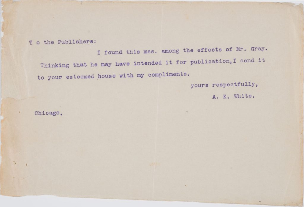 The typed note accompanying the manuscript of A Wild Plaint, 1909. Christopher Morley Collection.