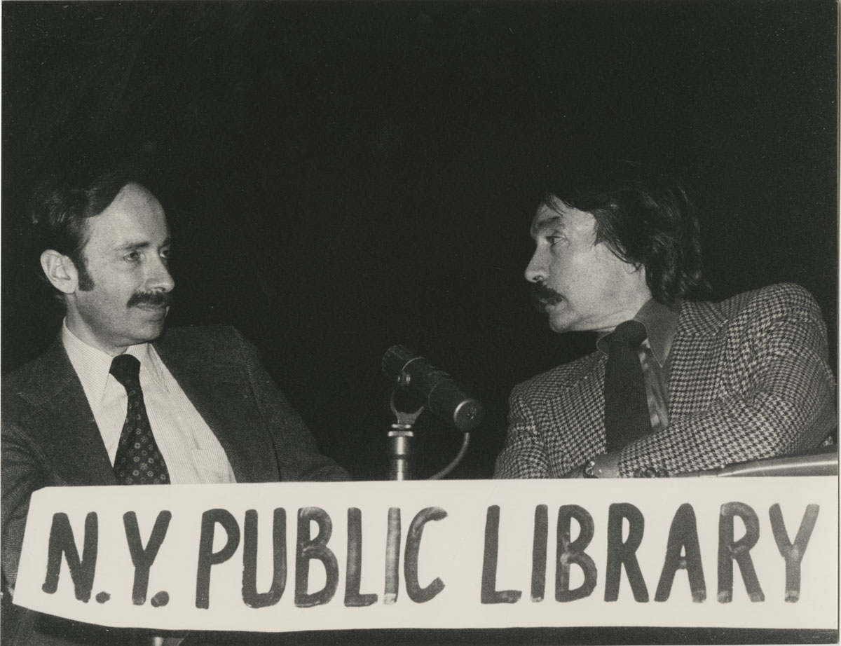 Mel Gussow and Edward Albee at New York Public Library for the Performing Arts, December 13, 1979.