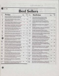"A New York Times Bestseller List from May 29, 1988, with Gabriel García Márquez's ""Love in the Time of Cholera"" listed at number 3."