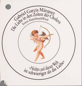 "A press sticker from the Kiepenheuer & Witsch publication of ""Die Liebe in den Zeiten der Cholera"" (""Love in the Time of Cholera"")."