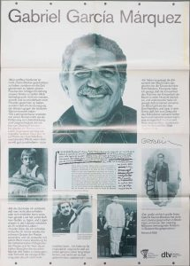 A poster from the German publishing houses, Deutscher Taschenbuch Verlag and Verlag Kiepenheuer & Witsch, that includes photos and excerpts from an interview with Gabriel García Márquez.