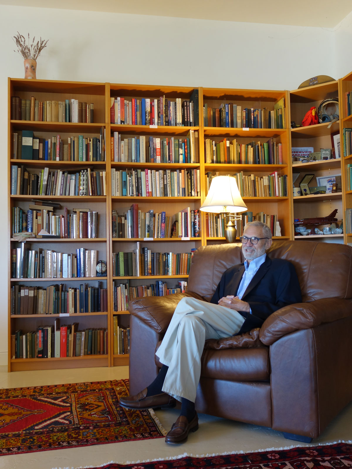 Dr. Dean F. Echenberg in his library. Photo by Jim Kuhn.