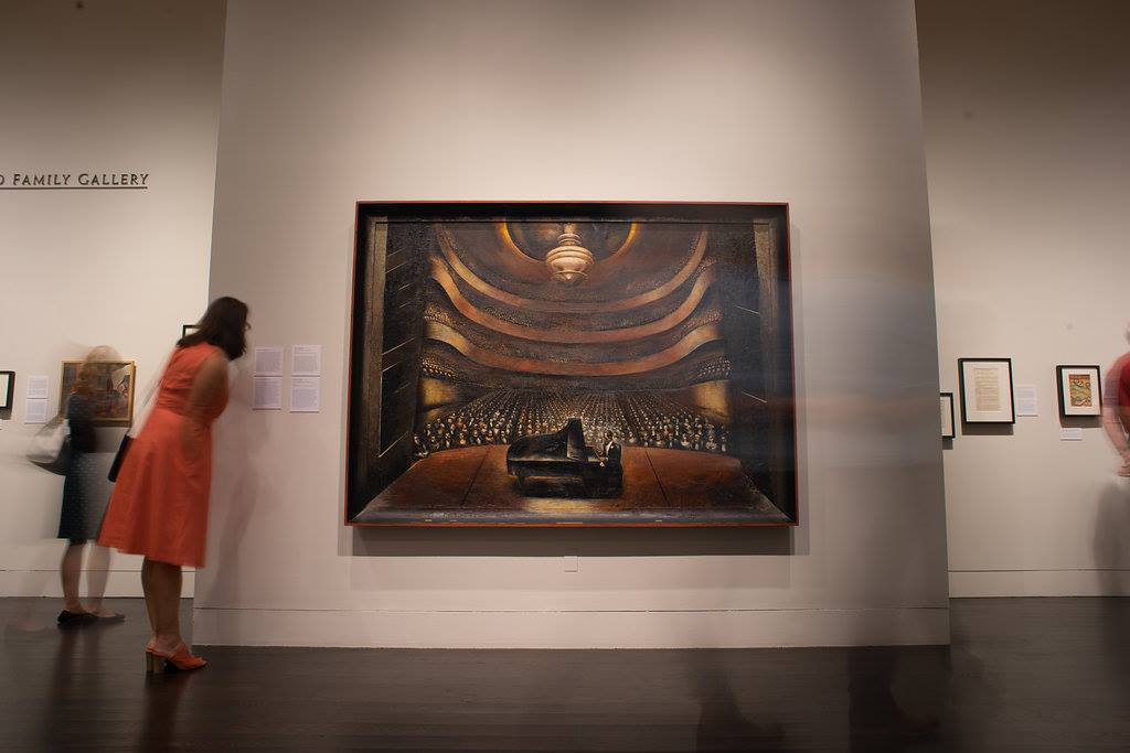 """Iin the galleries: David Alfaro Siqueiros, """"Portrait of George Gershwin in a Concert Hall,"""" 1936, oil on canvas, gift of Ira and Leonore Gershwin."""