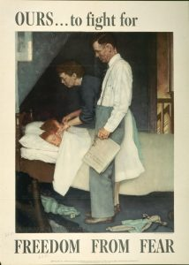 Caption: Norman Rockwell, Freedom from Fear, 1943, offset color lithograph on paper, Texas War Records Collection, 85.170.159
