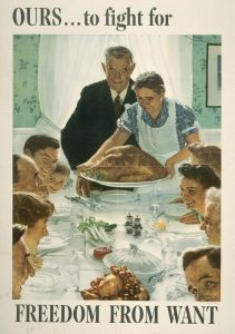 Caption: Norman Rockwell, Freedom from Want, 1943, offset color lithograph on paper, Texas War Records Collection, 85.170.156